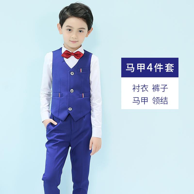 儿童礼服男童西装马甲三件套帅气英伦风小孩花童主持人钢琴演出服