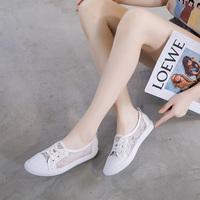 真皮小白鞋女2020夏季新款镂空女鞋网面透气网鞋一脚蹬懒人单鞋