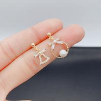 微镶满钻圣诞铃铛锆石珍珠耳环不对称可爱温柔小仙女耳饰气质耳钉