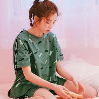 玉茄子新款睡衣女夏纯棉卡通短袖短裤套装可外穿两件套少女家居服