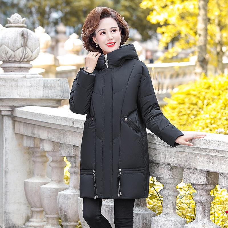 年轻妈妈秋冬装洋气羽绒服中长款2020新款50岁中老年女棉衣外套厚