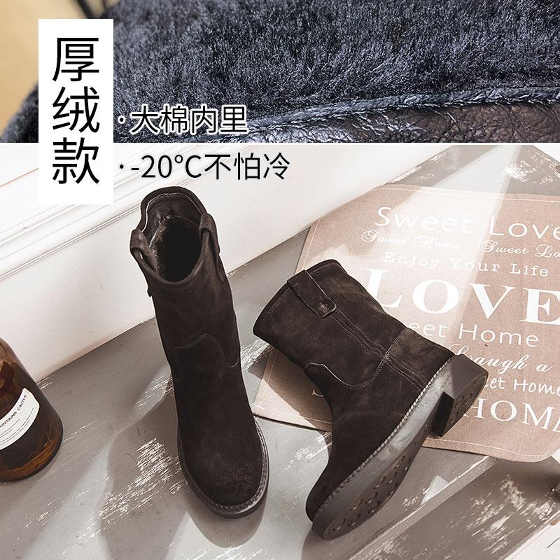 磨砂中筒靴女冬加绒靴子大筒围棉靴平底女靴雪地中靴2020新款短靴