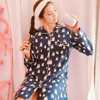 玉茄子睡裙女春夏纯棉短袖薄款甜美休闲家居服薄款可外穿睡衣