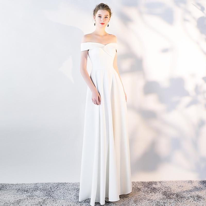 小晚礼服女宴会气质高贵优雅韩式白色平时可穿长裙简单大方连衣裙