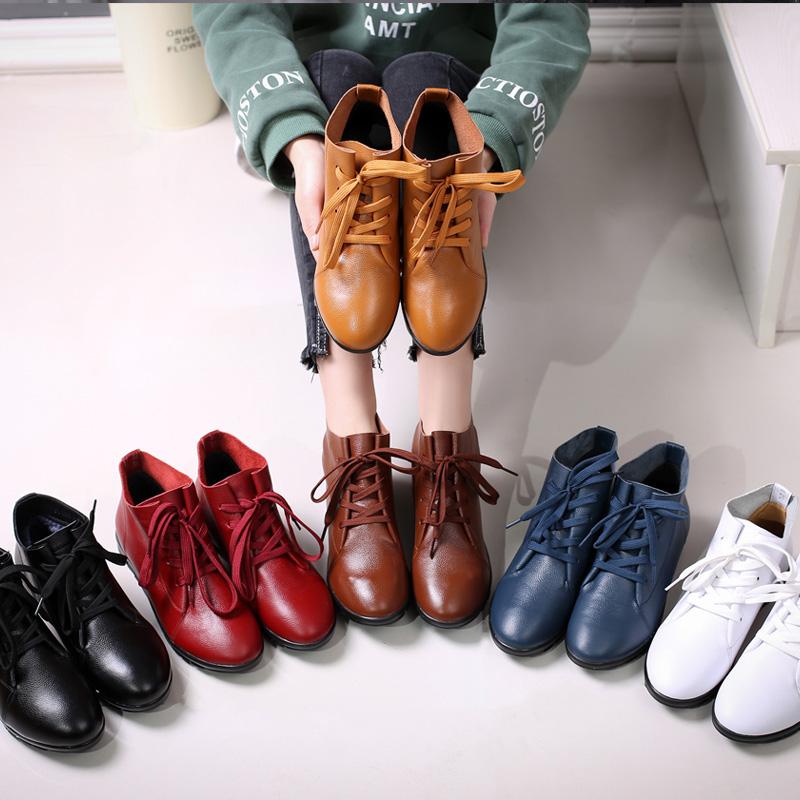新款女鞋春秋单鞋真皮平底妈妈鞋子冬季加绒短靴舒适软底休闲皮鞋