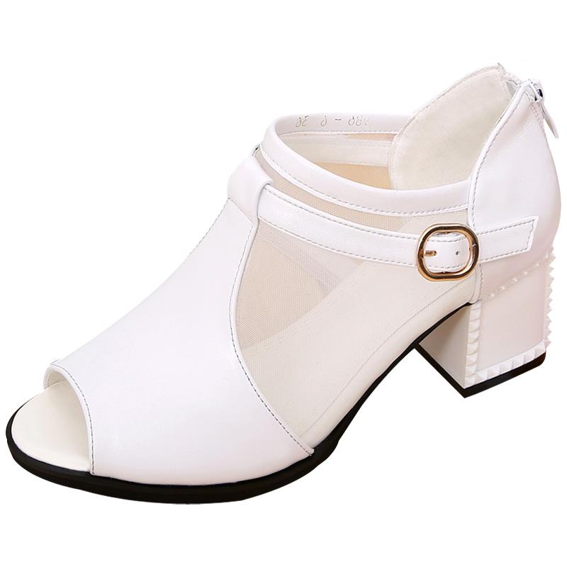 新款夏季凉鞋真皮中跟粗跟性感鱼嘴网靴罗马镂空网纱女鞋百搭凉靴