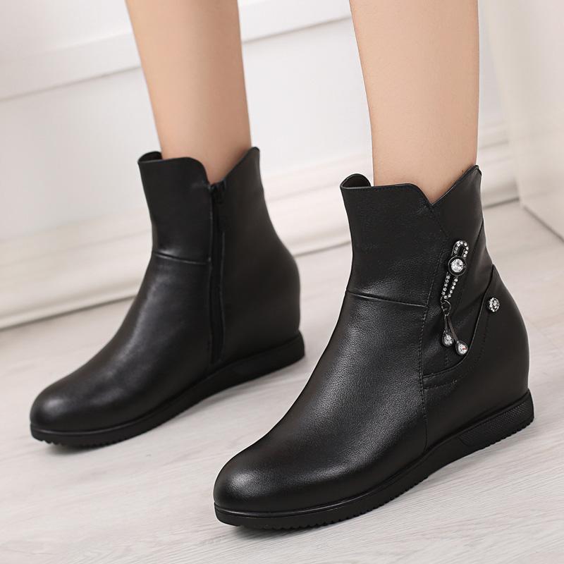 新款短靴女春秋单靴真皮鞋百搭坡跟平底内增高女鞋冬季加绒女靴子